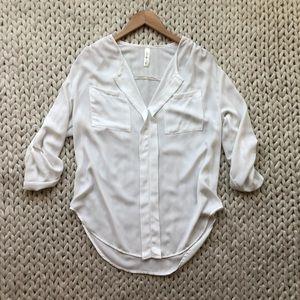 Lovely Day White Roll Sleeve Blouse